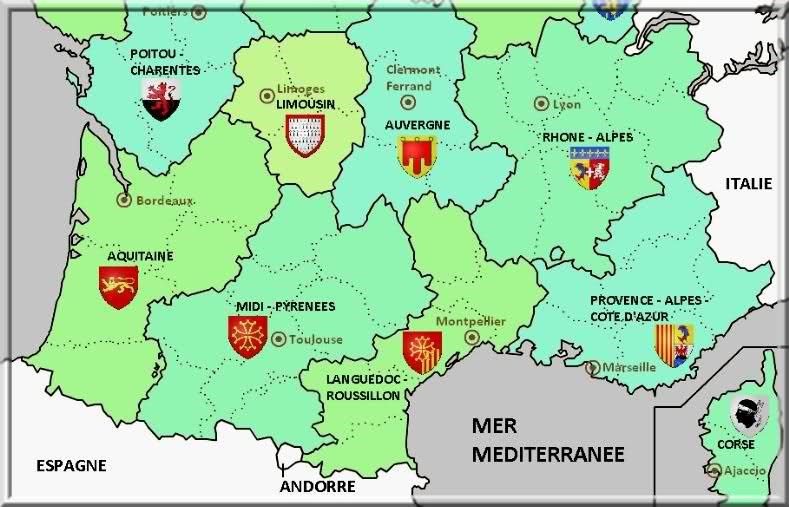 Carte des regions du sud la provence le sud de la france for Booking sud de la france